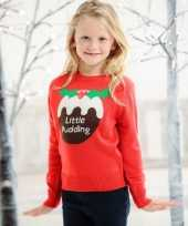 Rode kersttrui kinderen little pudding