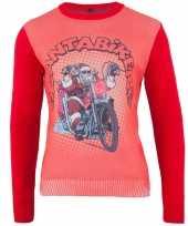 Rode kersttrui santa biker