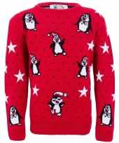 Rode meisjes kersttrui pinguins