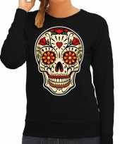 Sugar skull fashion trui rock punker zwart dames