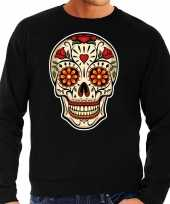 Sugar skull fashion trui rock punker zwart heren