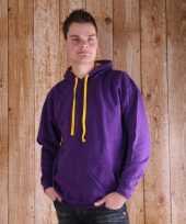 Varsity heren hooded trui paars gele capuchon