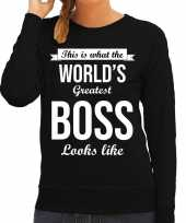 Worlds greatest boss baas cadeau trui zwart dames