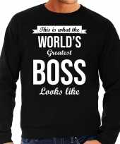 Worlds greatest boss cadeau trui zwart heren