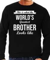 Worlds greatest brother cadeau trui zwart heren