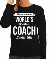 Worlds greatest coach cadeau trui zwart dames