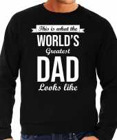 Worlds greatest dad cadeau trui zwart heren