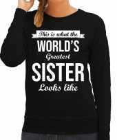 Worlds greatest sister zus cadeau trui zwart dames