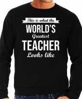 Worlds greatest teacher cadeau trui zwart heren