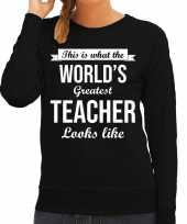 Worlds greatest teacher lerares cadeau trui zwart dames